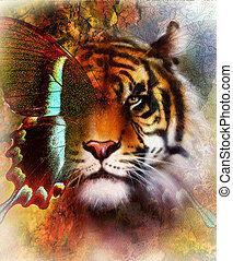 vlinder, structure., oog, blauwe , kleur, ouderwetse , abstract, achtergrond, ornament, tiger, sinaasappel, rood, papier, black , dier, groene, verticaal, contact., color., vleugels, concept