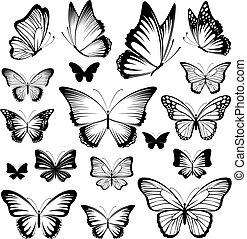 vlinder, tatoeëren, silhouettes