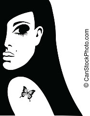 vlinder, tatoeëren, vrouw, silhouette, haar, illustratie, vector, schouder