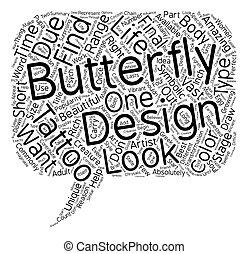 vlinder, tattoos, concept, tekst, hoe, wordcloud, ontwerp, achtergrond, perfect, vinden