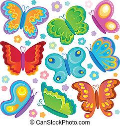 vlinder, thema, verzameling, 1