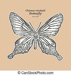 vlinder, trekken, gezin, chinees, schets, papilionidae., hand, vector., windmolen