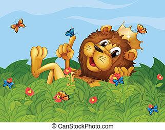 vlinder, tuin, leeuw