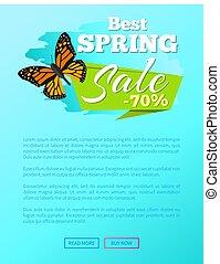 vlinder, van bron, sticker, verkoop, vector, 70, best