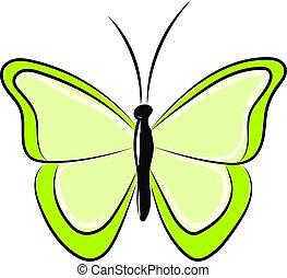 vlinder, vector, achtergrond., illustratie, groen wit