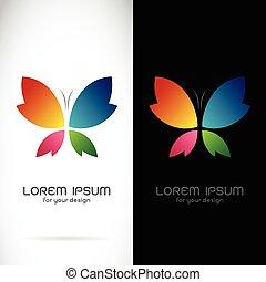 vlinder, vector, beeld, achtergrond, ontwerp, achtergrond, black , witte , symbool, logo