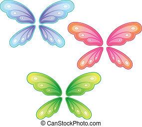 vlinder, vector, set, vleugels