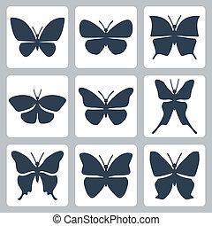 vlinder, vector, set, vrijstaand, iconen