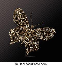 vlinder, vector, vrijstaand, illustratie