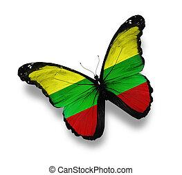 vlinder, vlag, litouws, vrijstaand, witte