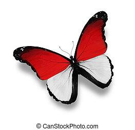 vlinder, vlag, monegasque, vrijstaand, witte