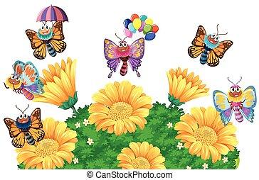 Vlinder bloemen tuin illustratie for Vliegen in de tuin