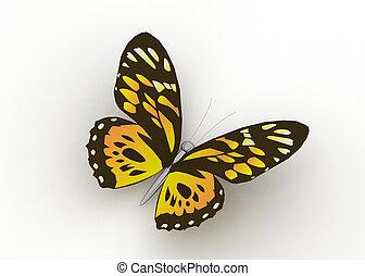 vlinder, vrijstaand, op wit