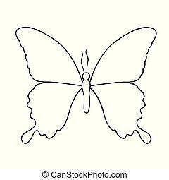 vlinder, vrijstaand, tekening, achtergrond, wit lijnen