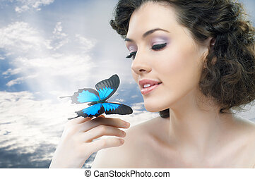 vlinder, vrouw