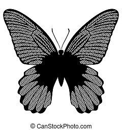 vlinder, witte , black , kant
