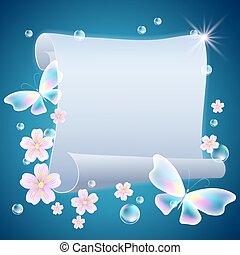 vlinders, blumen, rolle