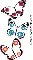 vlinders, blumen, satz