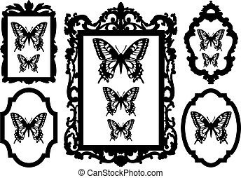 vlinders, in, bild rahmt