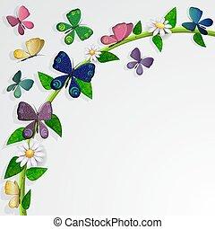 vlinders, karte, aus, blätter, und, blumen, hintergrund