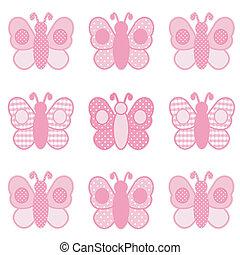 vlinders, kattun, und, polka- punkte