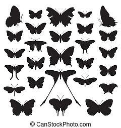 vlinders, silhouette, set., vector.
