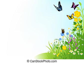 vlinders, und, blumen