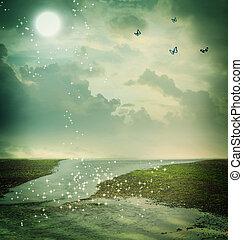 vlinders, und, mond, in, fantasie, landschaftsbild
