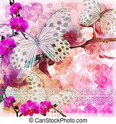 vlinders, und, orchideen, blumen, rosafarbener hintergrund,...
