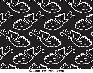 vlinders, vektor, pattern., seamless