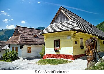Vlkolinec - mountain village with a folk architecture typical of the Central European type.