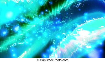 vloeiend, balken, van, energie, in, blauw groen, fantasie, lus