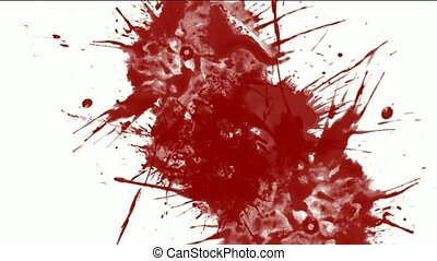 vloeistof, &, de plons van de verf, inkt, rood