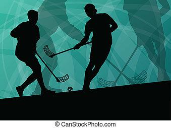vloer, bal, spelers, actief, sportende, silhouettes, vector,...