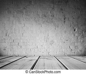 vloer, en, muur
