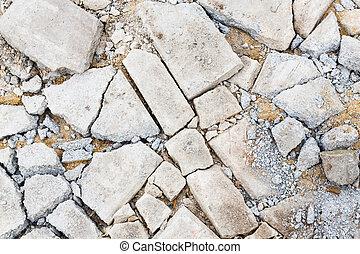 vloer, gebarsten, beton