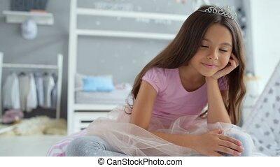 vloer, het rusten, schattig, kleine prinses