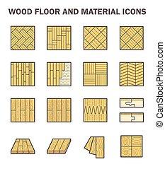 vloer, hout, iconen