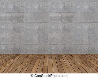 vloer, hout, muur, beton