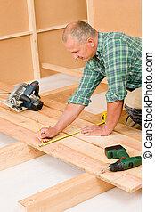 vloer, houten, handyman, verbetering, woningrenovatie