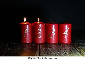 vloer, houten, kaarsjes, advent, 2.advent., stander, rood