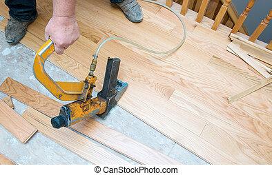 vloer, installatie, loofhout