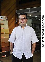 vloer, kleine, portait, eigenaar, business:, kleinhandelswinkel