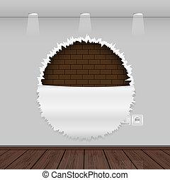 vloer, muur, haveloos, houten, vector, interieur