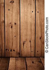 vloer, muur, ouderwetse , -, hout, panelen
