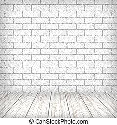 vloer, muur, ouderwetse , houten, interieur, witte baksteen
