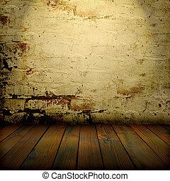 vloer, oud, muur