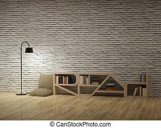 vloerlamp, met, boekenkast, op, houtenvloer, bakstenen, muur