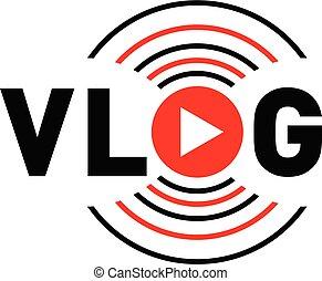 Vlog communication logo, flat style - Vlog communication...