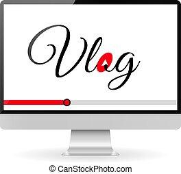 vlog, conceito, vídeo, blogging, ilustração